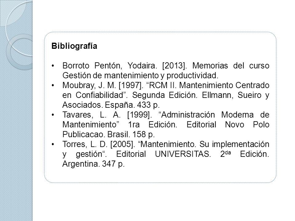 BibliografíaBorroto Pentón, Yodaira. [2013]. Memorias del curso Gestión de mantenimiento y productividad.